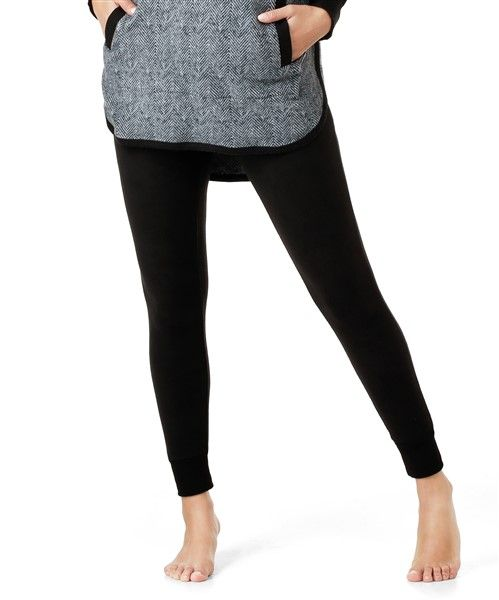 DKNY Stretch Fleece Leggings - Black
