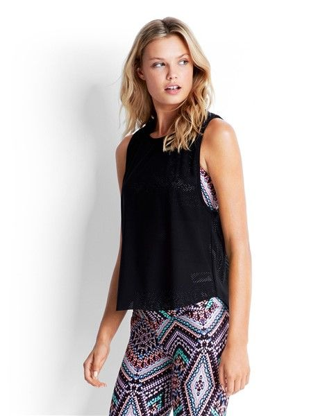 Seafolly Indian Summer Geo Mesh Tank Top - Black